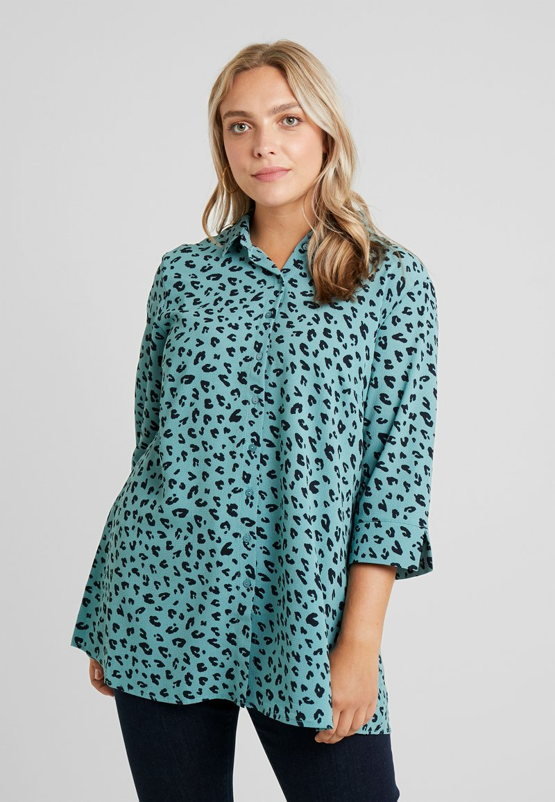 MY TRUE ME TOM TAILOR - PRINTED LONG TUNIC - Button-down blouse - mint navy