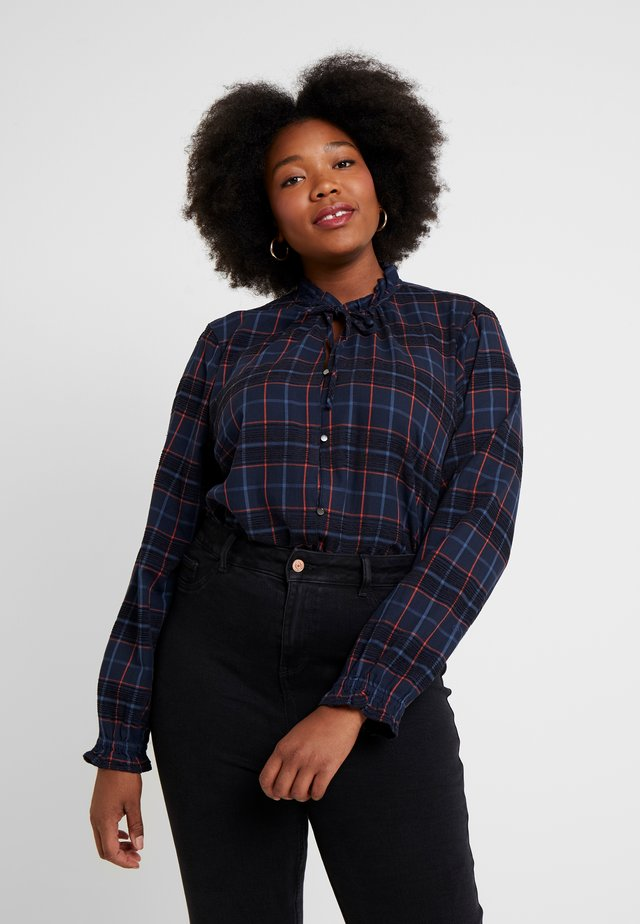 BLOUSE WITH TIED NECK - Bluse - blue