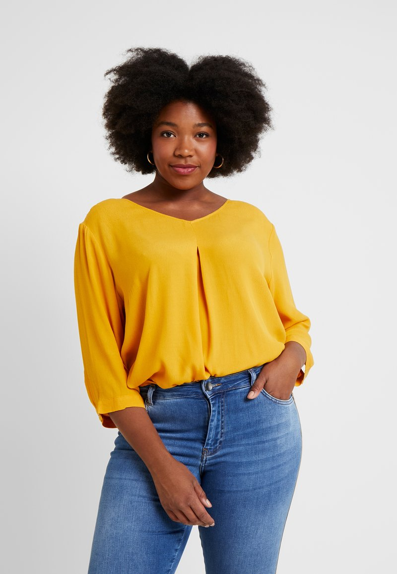 MY TRUE ME TOM TAILOR - V NECK WITH PLEAT DETAIL - Bluse - sunflower yellow