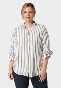 MY TRUE ME TOM TAILOR - MIT TAPE-DETAILS - Button-down blouse - offwhite grey stripe - 0