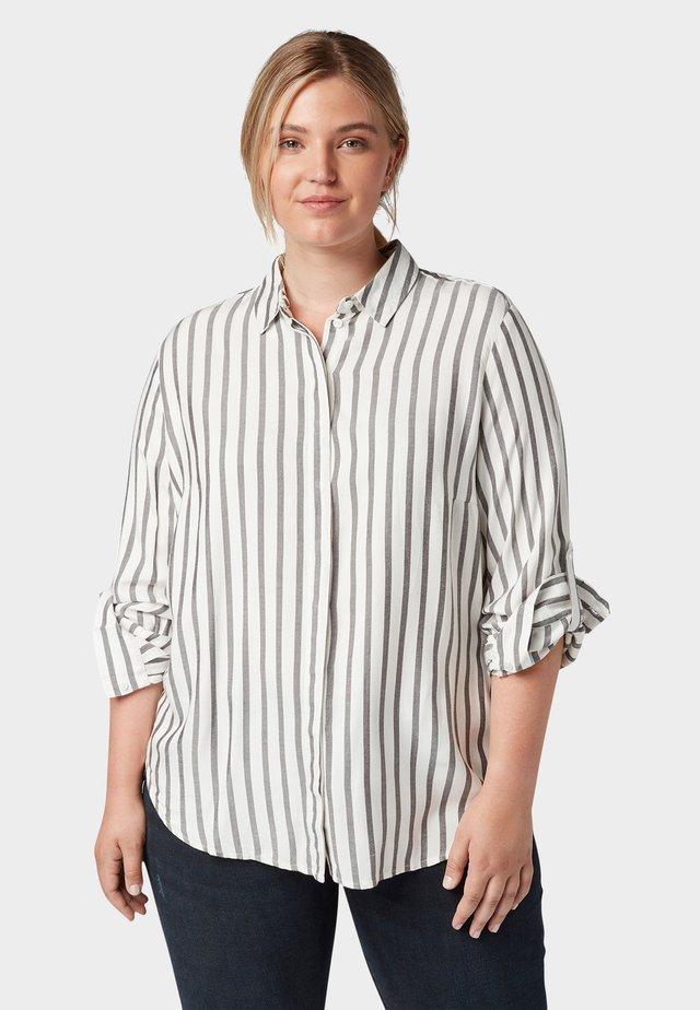 MIT TAPE-DETAILS - Overhemdblouse - offwhite grey stripe