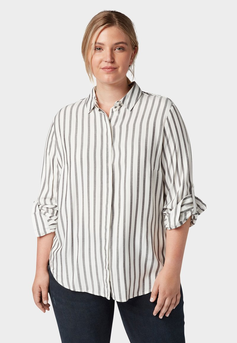 MY TRUE ME TOM TAILOR - MIT TAPE-DETAILS - Button-down blouse - offwhite grey stripe