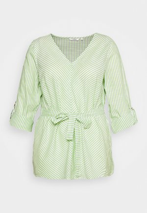 BELTED STRIPE BLOUSE - Blouse - light green/white
