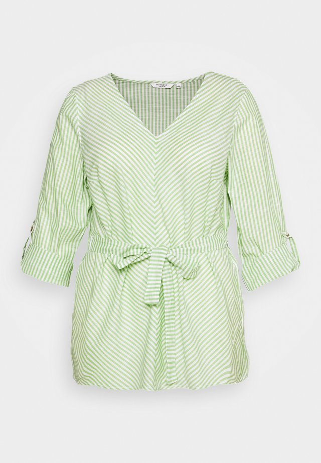 BELTED STRIPE BLOUSE - Blus - light green/white