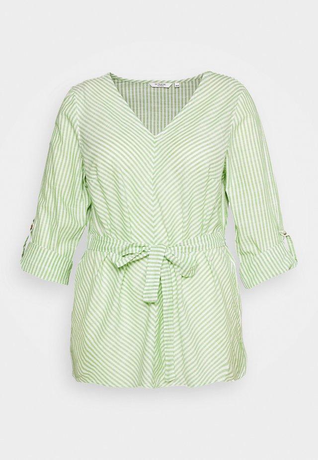 BELTED STRIPE BLOUSE - Blouse - light green/white