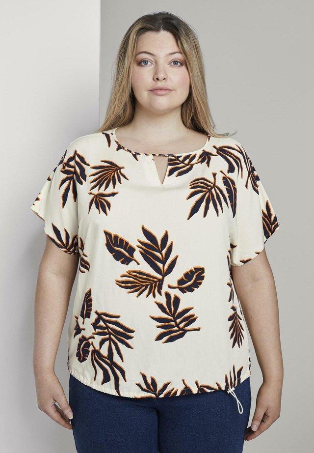 EASY - Bluse - beige navy orange flower print