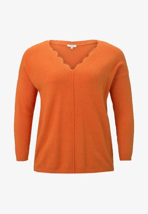 WITH DETAIL - Strikkegenser - knockout orange melange