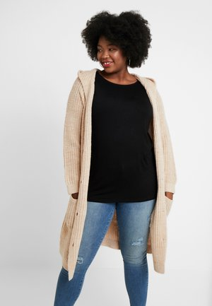CARDIGAN LONG HOODED - Cardigan - light camel melange