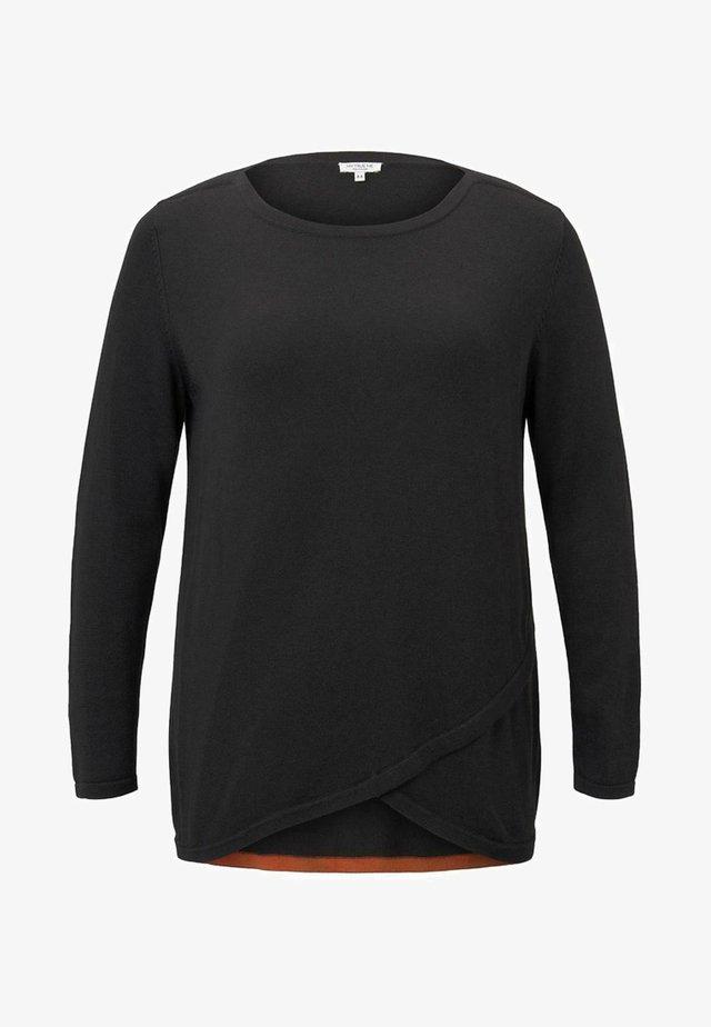 MIT WICKEL-DETAIL - Jersey de punto - deep black
