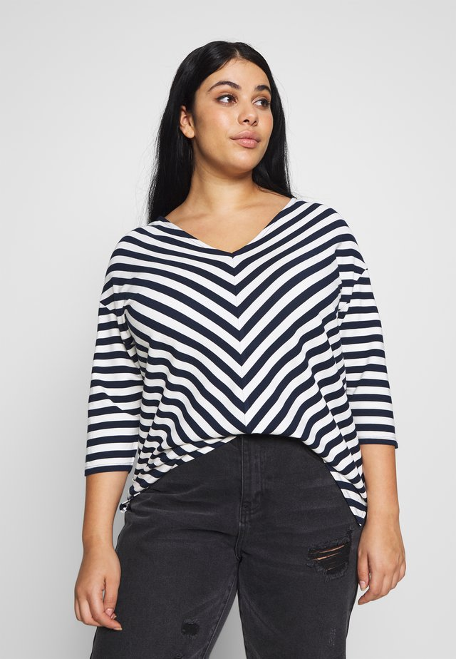 STRIPES DROP SHOULDER  - Mikina - navy blue