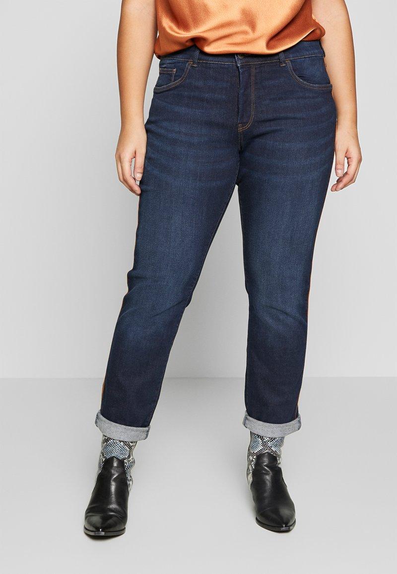 MY TRUE ME TOM TAILOR - PIPING DETAIL - Jeans Skinny Fit - dark stone wash denim