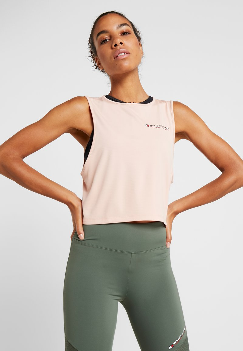Tommy Sport - CROPPED TANK TOP LOGO - Funktionsshirt - pink