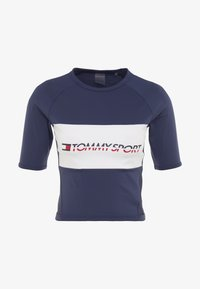 Tommy Sport - BLOCKED TEE CROPPED LOGO - T-shirts med print - blue - 3