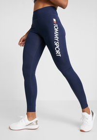 Tommy Sport - HIGHWAIST LEGGING LOGO - Tights - blue - 0