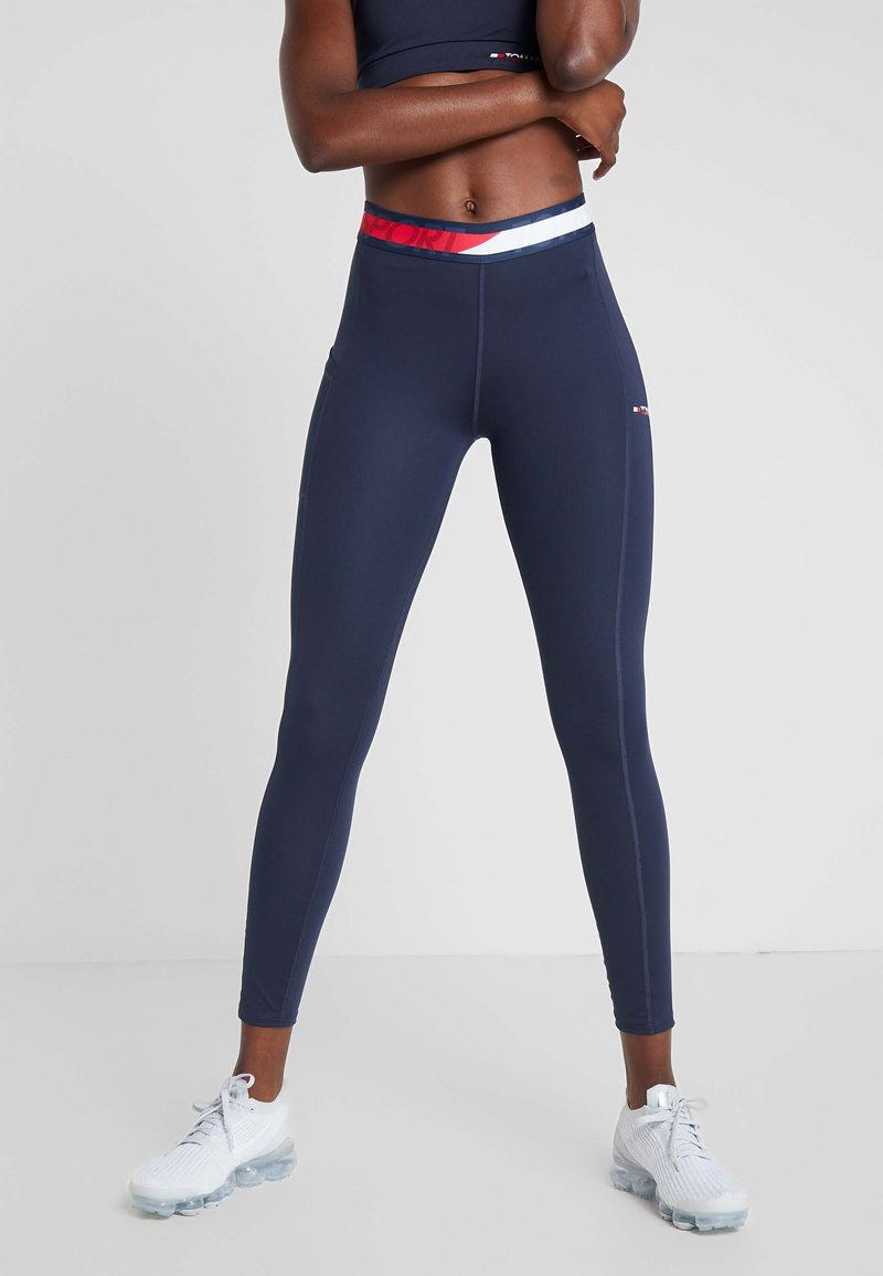 Tommy Sport - TAPE LEGGING - Tights - blue