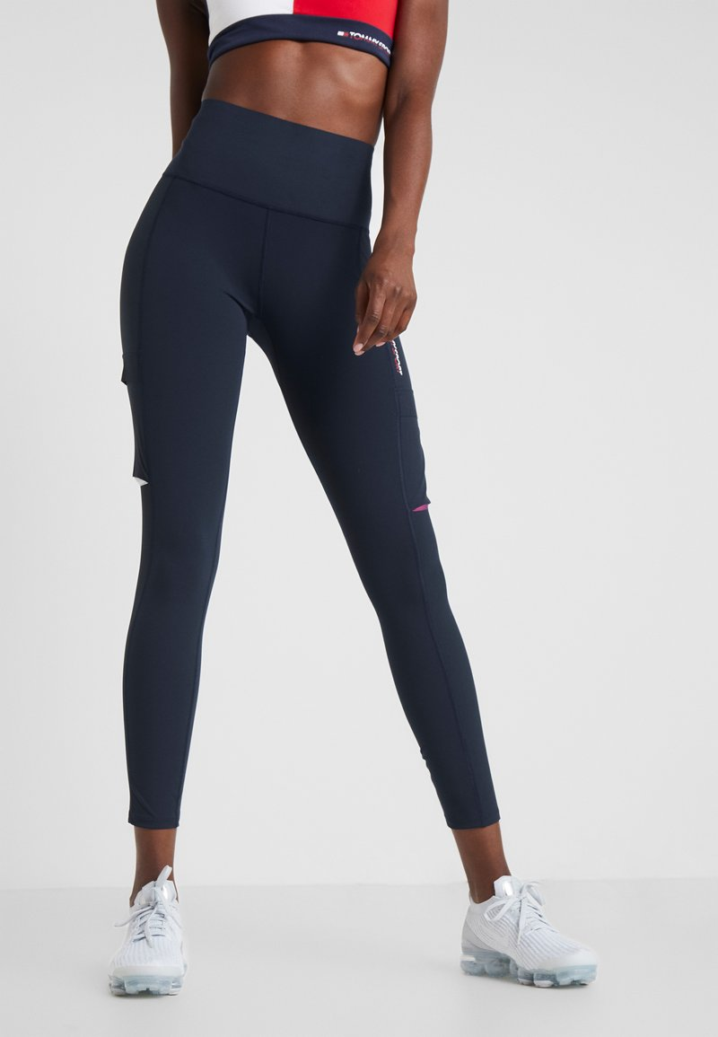 Tommy Sport - HIGHWAIST CARGO LEGGING - Tights - blue