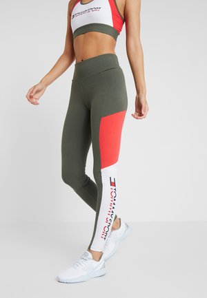 BLOCKED LOGO - Legging - green
