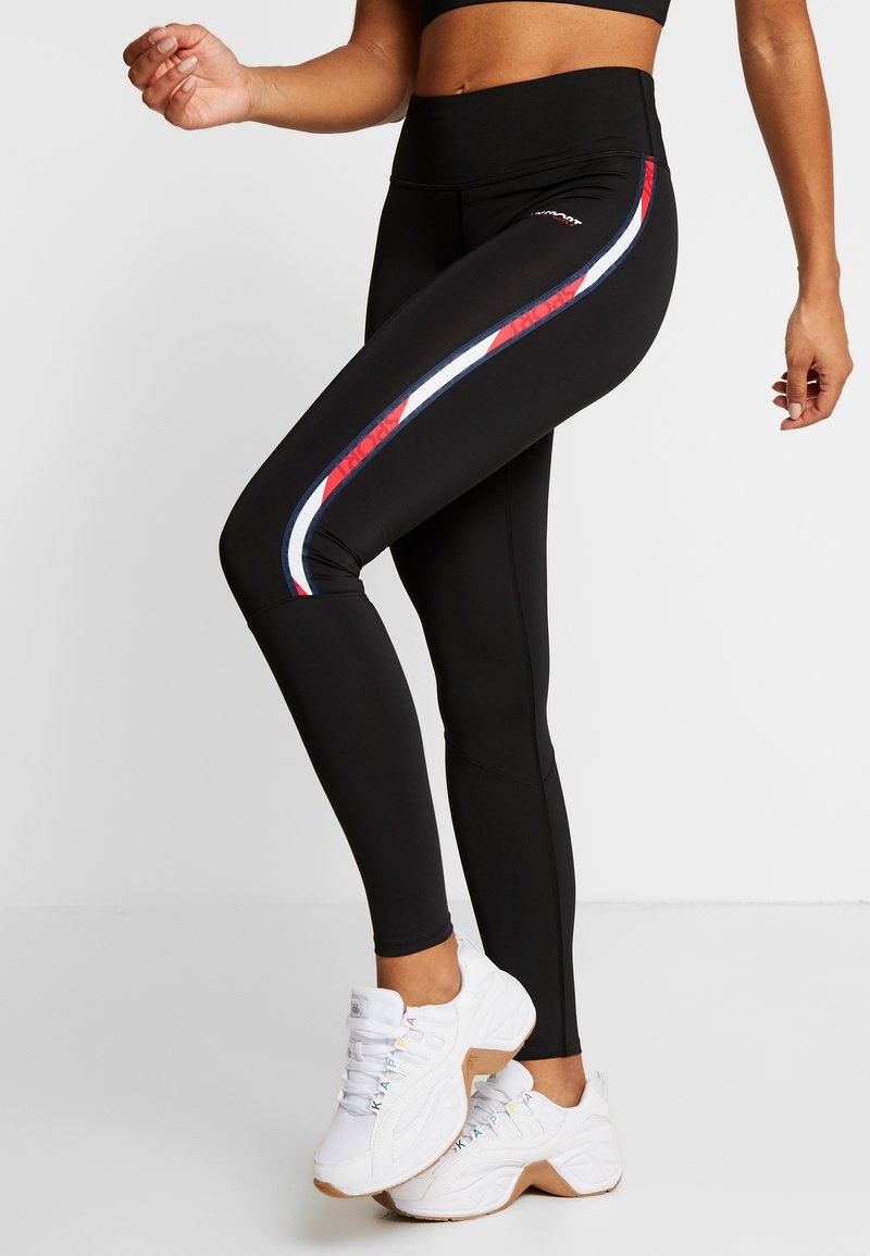 Tommy Sport - LEGGING FULL LENGTH WITH TAPE - Trikoot - black