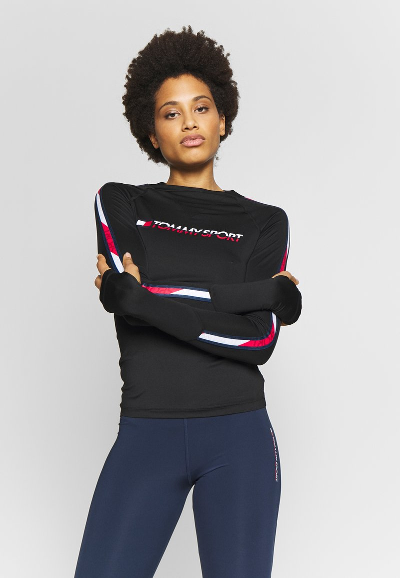 Tommy Sport - BASE LAYER WITH TAPE - Long sleeved top - black