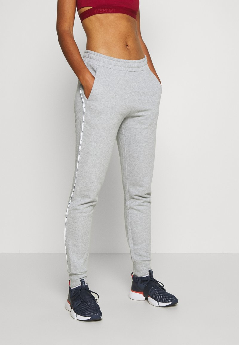 Tommy Sport - CUFFED PANT PIPING - Tracksuit bottoms - grey heather