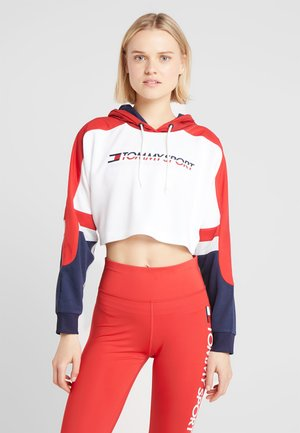 FLAG TAPE CROP HOODY - Mikina s kapucí - red