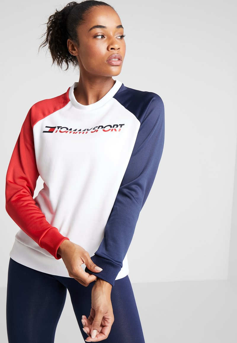 Tommy Sport - CREW COLORBLOCK LOGO - Sweatshirt - white