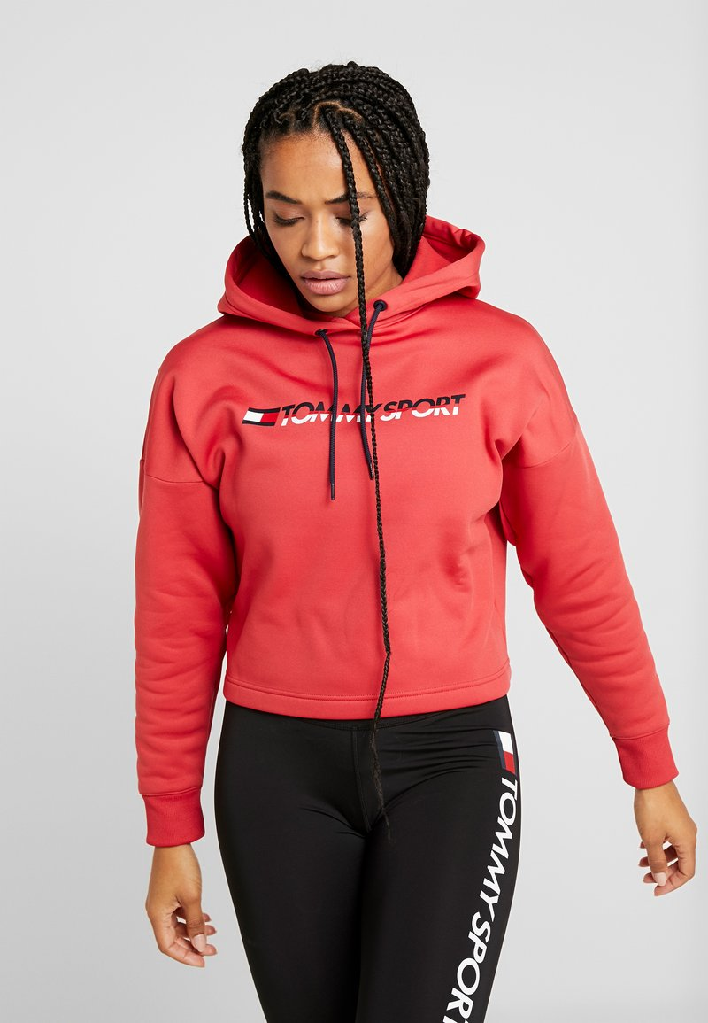 Tommy Sport - CROPPED HOODY - Huppari - red