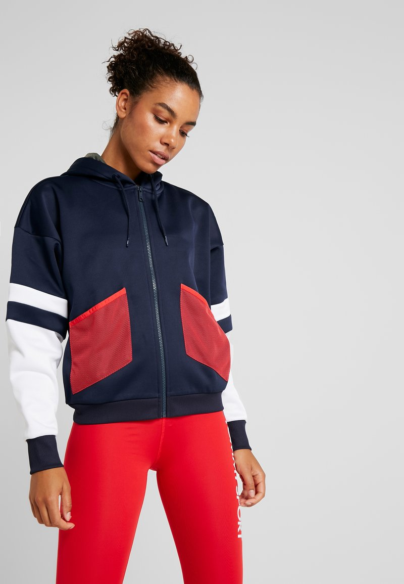 Tommy Sport - BLOCKED TERRY HOODY FULL ZIP - veste en sweat zippée - blue