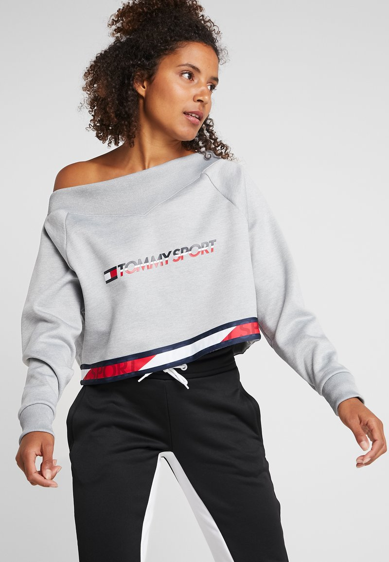 Tommy Sport - CROP WITH TAPE - Sweat polaire - grey