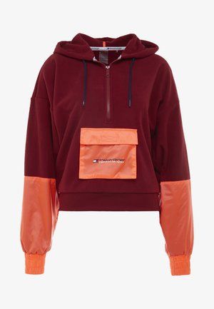 BLOCKED POLAR MIX HOODIE - Mikina s kapucí - red
