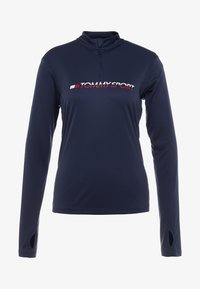 Tommy Sport - 1/4 ZIP BASE LAYER TEE - Funkční triko - blue