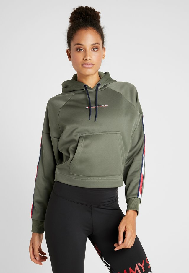 HOODY CROPPED WITH TAPE - Mikina s kapucí - green