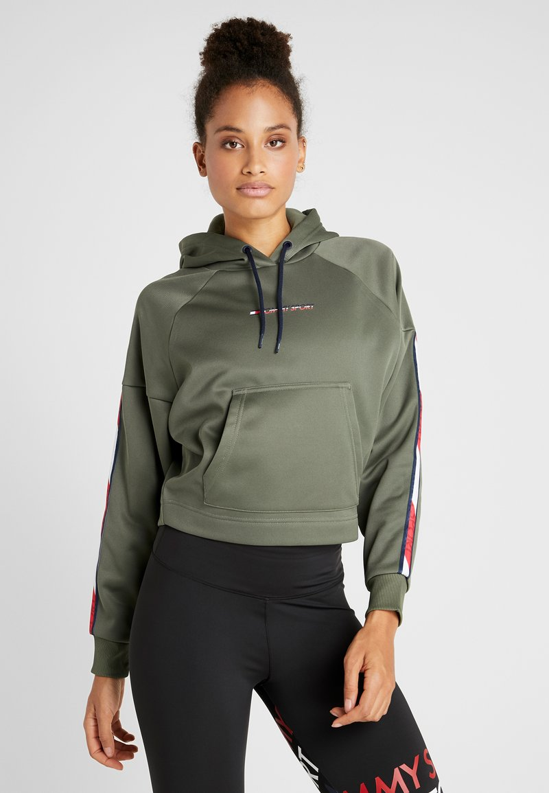 Tommy Sport - HOODY CROPPED WITH TAPE - Hoodie - green