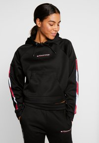Tommy Sport - HOODY CROPPED WITH TAPE - Hoodie - black - 0