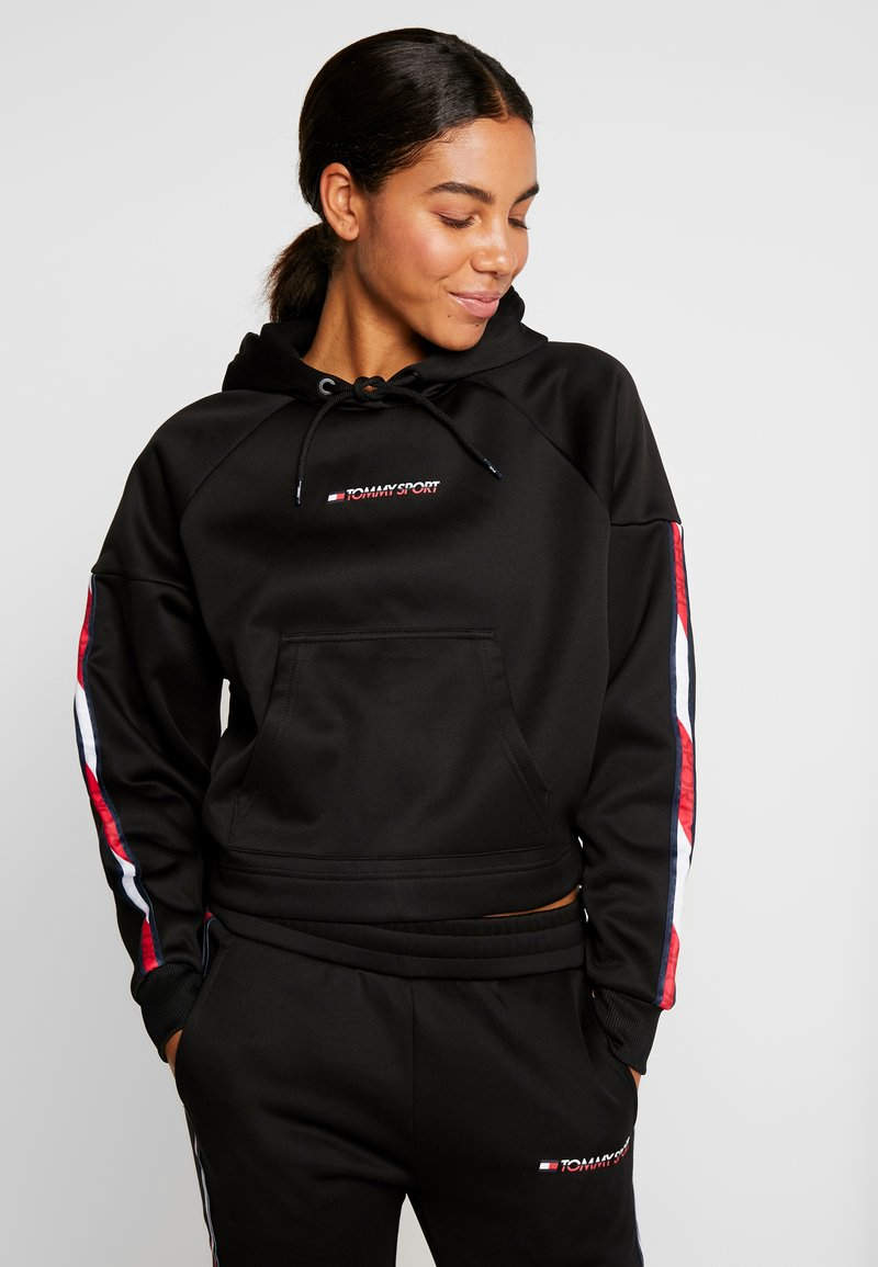 Tommy Sport - HOODY CROPPED WITH TAPE - Hoodie - black