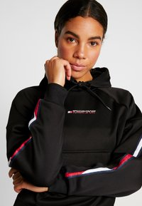 Tommy Sport - HOODY CROPPED WITH TAPE - Hoodie - black - 3