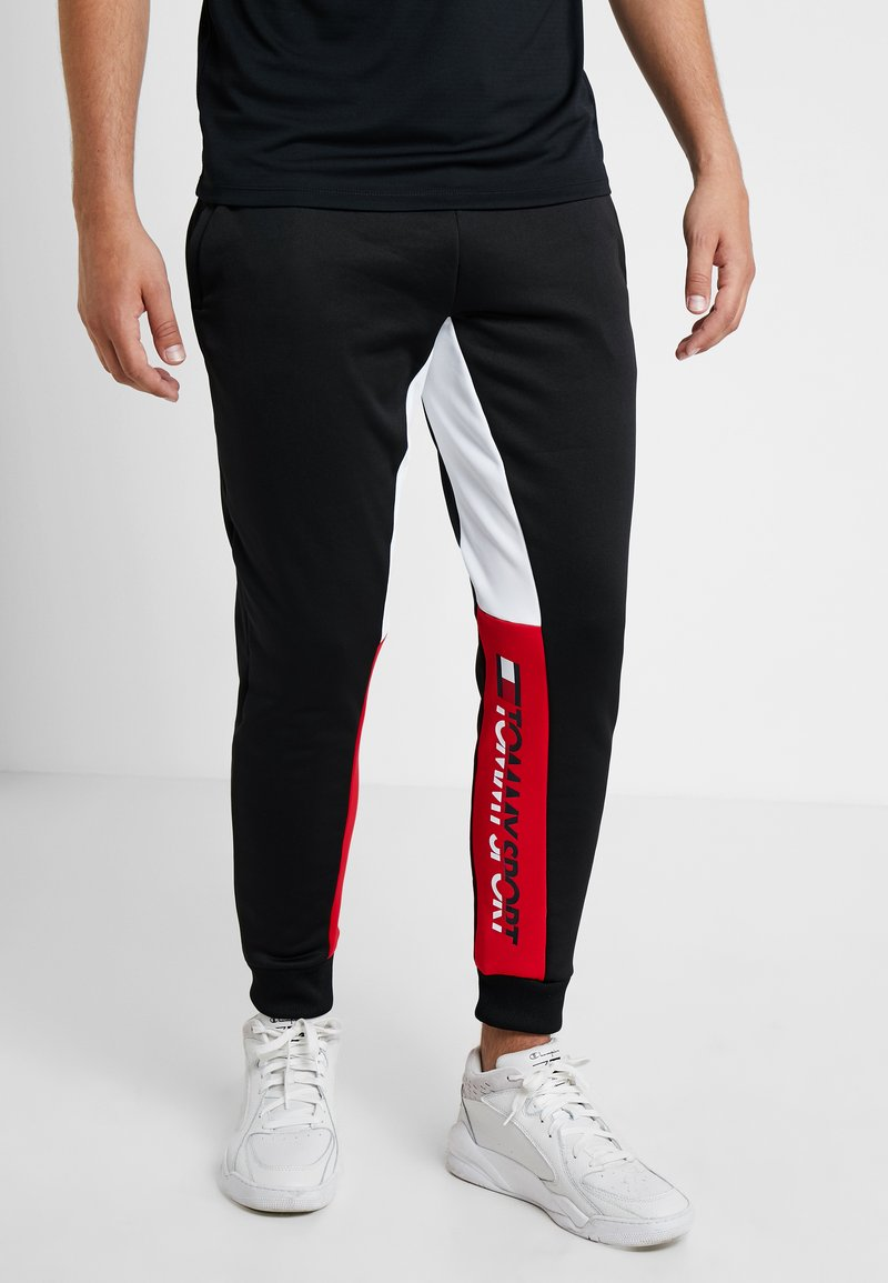 Tommy Sport - GRAPHIC LOGO CUFF - Tracksuit bottoms - black