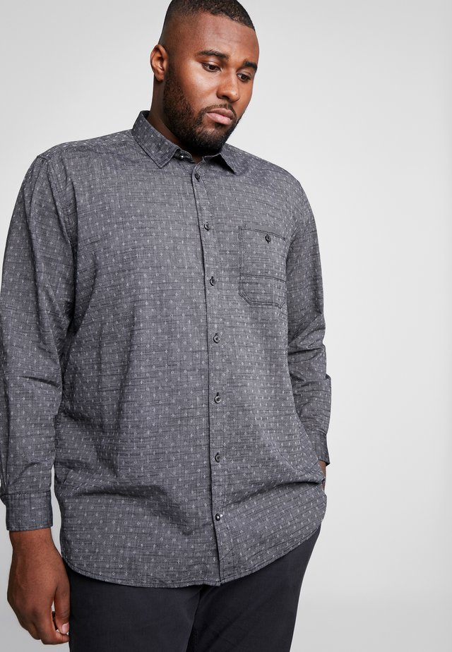 DIAMOND STRUCTURE SHIRT - Shirt - black/ white/dobby grey