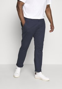 TOM TAILOR MEN PLUS - WASHED STRUCTURE CHINO - Broek - navy yarn dye structure - 0