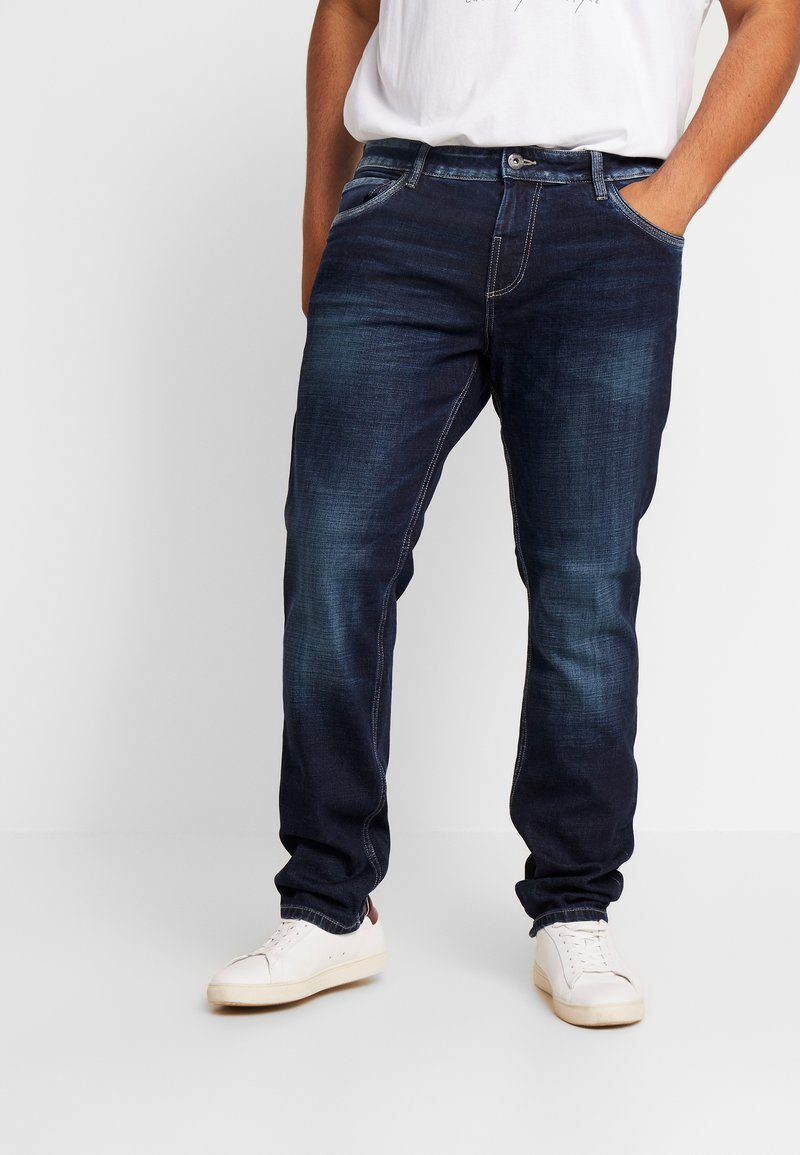TOM TAILOR MEN PLUS - 5 POCKET - Jeans straight leg - dark stone wash denim/blue