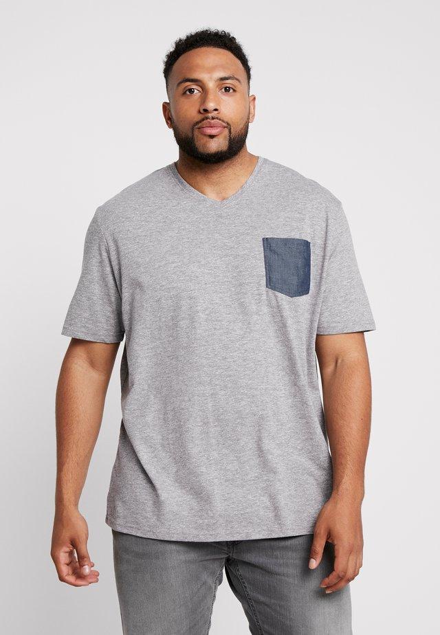WITH POCKET - T-Shirt print - sky captain blue/white melange