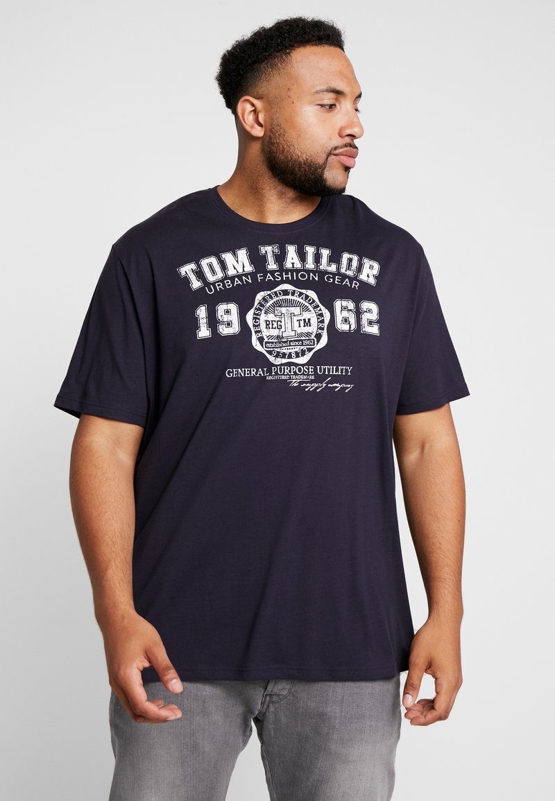 TOM TAILOR MEN PLUS - LOGO TEE - Print T-shirt - navy blue
