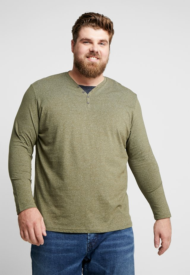 SERAFINO WITH UNDERLAYER - Long sleeved top - dusty green/ white mock twist
