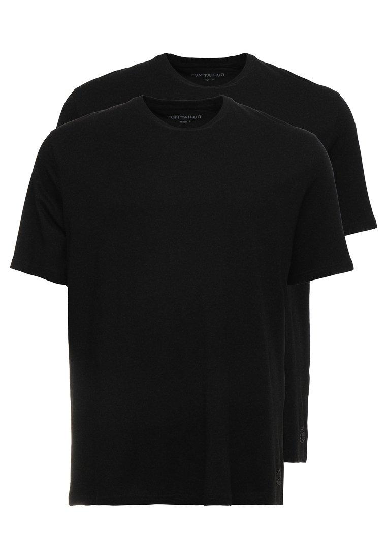 TOM TAILOR MEN PLUS - CREW NECK 2 PACK - T-Shirt basic - black