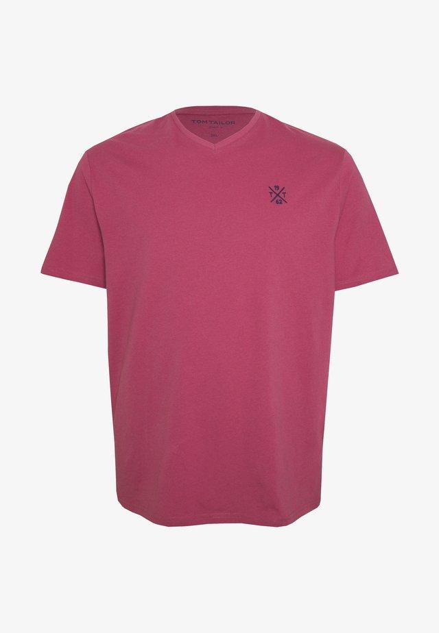 BASIC VNECK  - T-shirt - bas - wine rose pink
