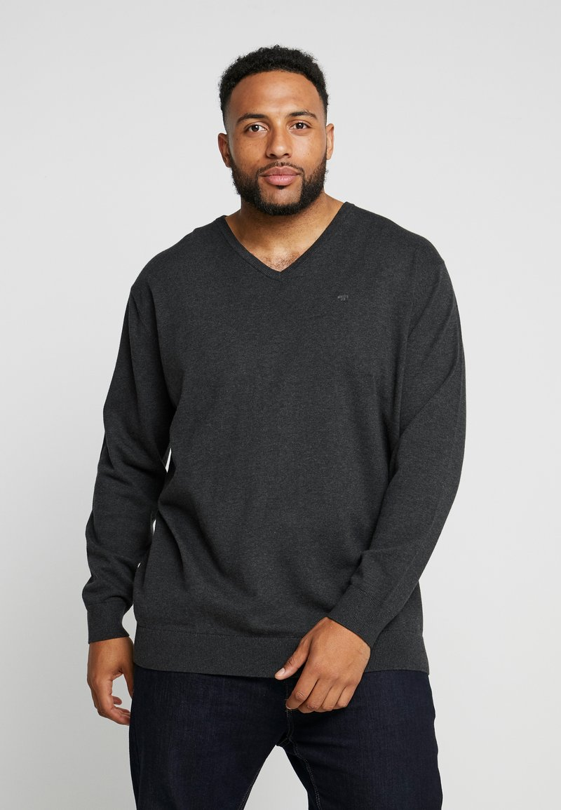 TOM TAILOR MEN PLUS - Strikpullover /Striktrøjer - black grey melange