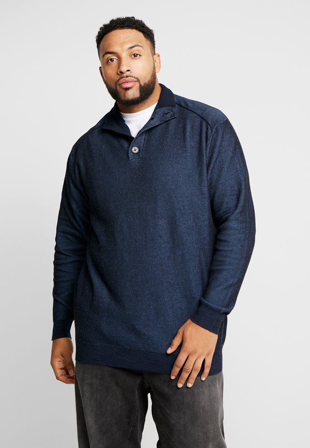 PLATED TROYER STRUCTURED - Strickpullover - navy blue