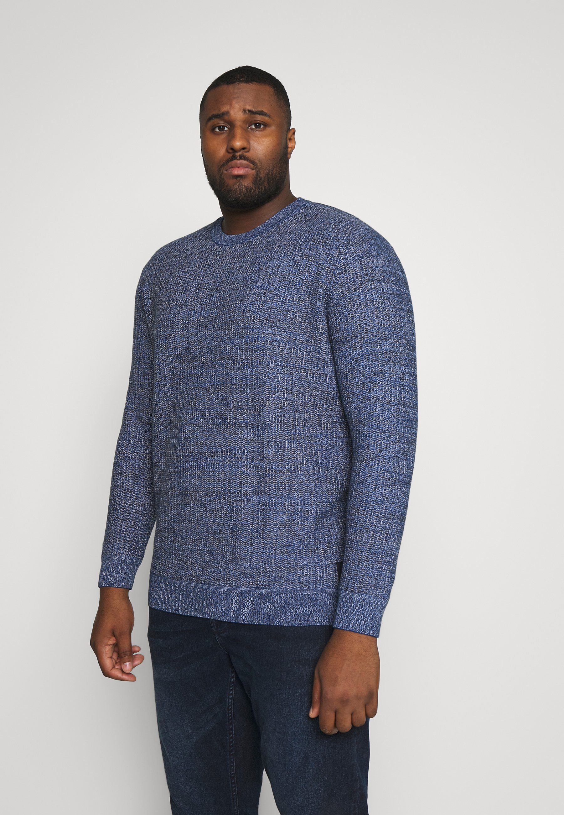 TOM TAILOR MEN PLUS STRUCTURED - Sweter - blue navy/light blue