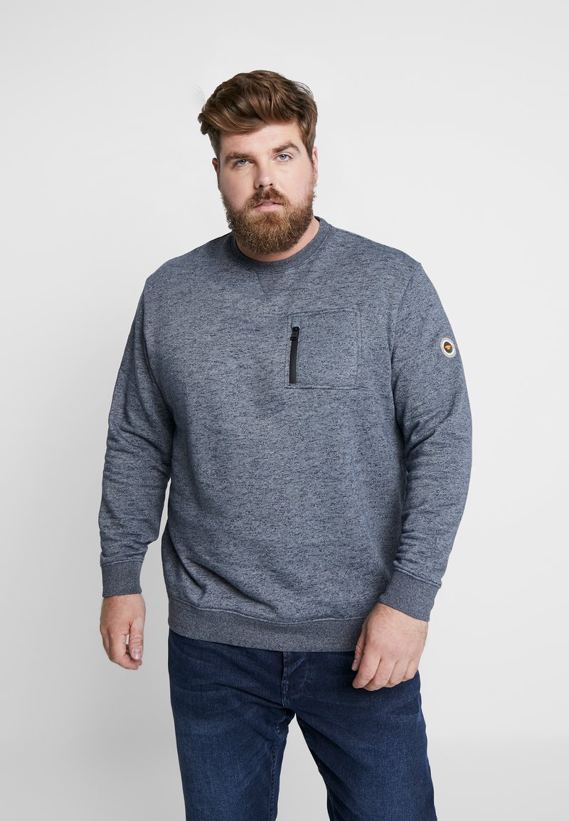 TOM TAILOR MEN PLUS - GRINDLE CREW NECK WITH POCKET - Sweater - navy blue