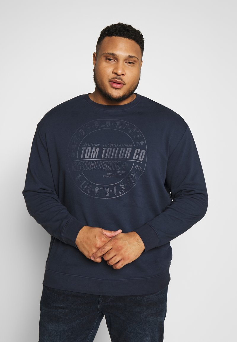 TOM TAILOR MEN PLUS - OVEDYED PRINT  - Sweatshirt - black iris blue melange